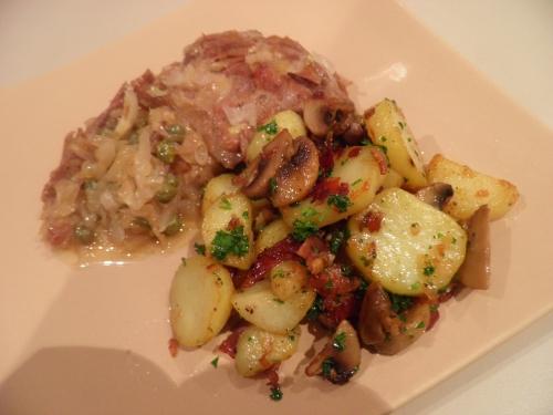 canard,canard confit,champignons,jambon cru,graisse d'oie,pommes de terre,persil,câpres