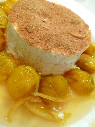 mirballes,fromage blanc,citron,eau-de-vie de prunes,miel d'acacia,pain d'épices,gelatine
