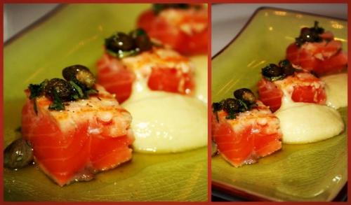saumon,citron,huile d'olive,câpres,origan,ail,pain,amandes