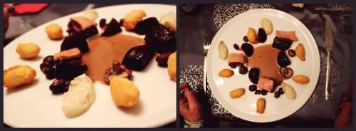 lièvre,râbles,parures,carotte,céleri rave,echalote,thym,laurier,foie gras mi-cuit,shii-také,cognac fine champagne,crème,fond de gibier,moutarde,gelée de coings,gingembre confit,beurre clarifié,baies de genièvre,grains de coriandre,citron,pectine,betteraves,fond blanc,vinaigre de xères,piment d'espelette,gros sel,topinambours,bouillon de volaille,lait,bintjes,pommes de terre,pate à coux,oeufs,beurre,farine