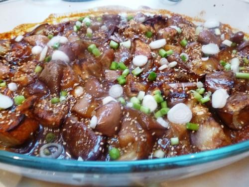 aubergines,miso,jeunes oignons,graines de sésame,saké,mirin,sucre