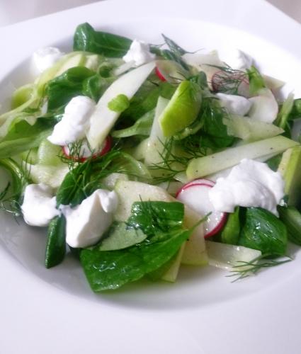 salade de blé,pourpier,aneth,concombre,granny smith,pomme,ail,yaourt,citron,huile d'avocat,huile d'olive,radis,chourave