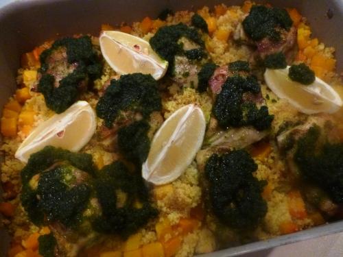 citron,citron vert,poulet,semoule,coriandre,cumin,butternut,huile d'olive,bouillon de volaille