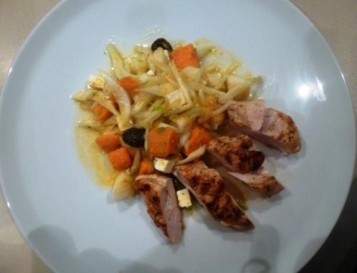 poulet,piment d'espelette,citron,huile d'olive,fenouil,patates douces,olives noires,ffeta,oranges,poires