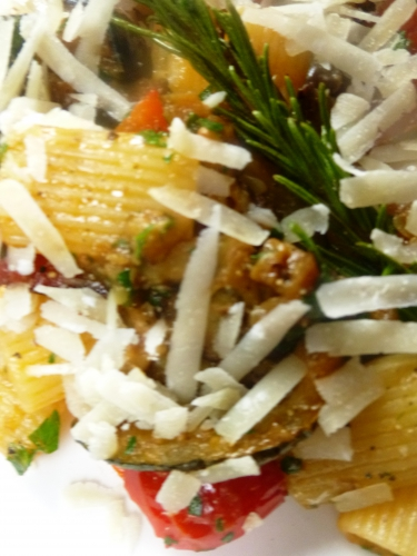 rigatoni,tomates,courgette,aubergine,poivrons,ail,romarin,piment d'espelette,huile d'olive,persil,parmesan,san marzano