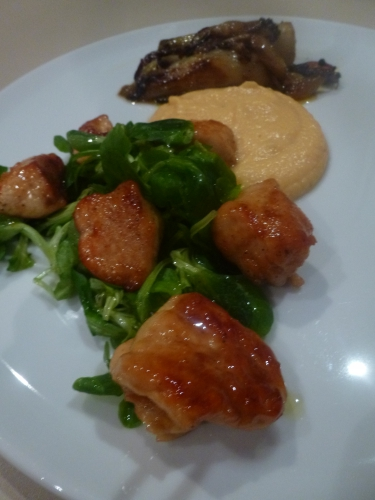 panais,mimolette,crème,lait,bouillon de volaille,chicons,foie gras,muscade,bouillon de légumes,poulet,vinaigre balsamique,sirop d'erable